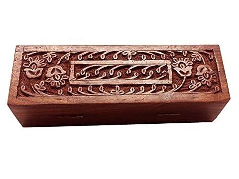 Wooden Pencil Box, Caving Arbeit Feder-Kasten,
