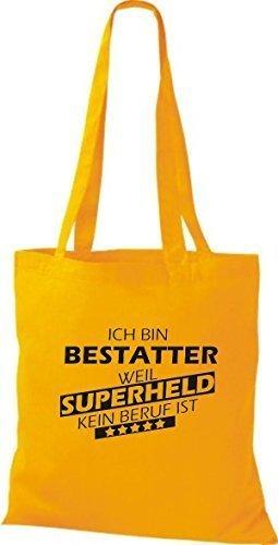shirtstown Borsa di stoffa SONO Undertaker, WEIL supereroe NESSUN lavoro è giallo dorato