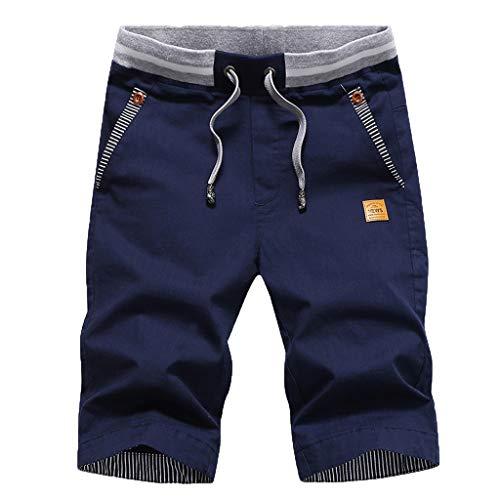 Herren Bermuda Shorts Kurze Chino Hose,GreatestPAK Baumwolle Joker-Shorts Neu Sommer Mode Casual Kurze Hose,Dunkelblau,XL - Baumwoll-satin Bermuda Short