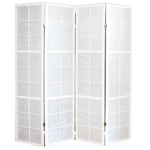 PEGANE Biombo japonés Shoji de madera blanco de 4 paneles