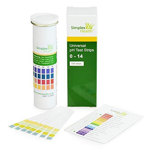 SimplexHealth Wasser pH-Teststreifen 0–14 Wide Range & Vier Pad Universal für Säure Alkaline Testen (150 Streifen) – Besser als Lackmus-Papier