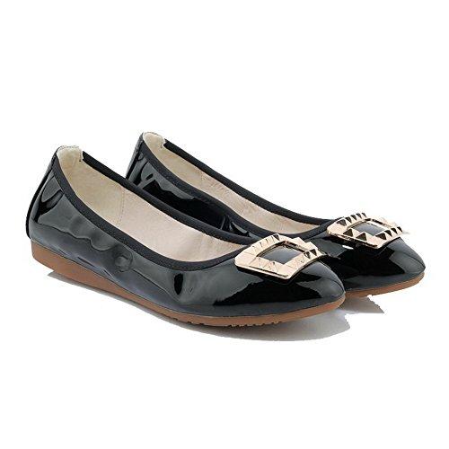 AllhqFashion Femme Tire Non Talon Pu Cuir Mosaïque Rond Chaussures à Plat Noir