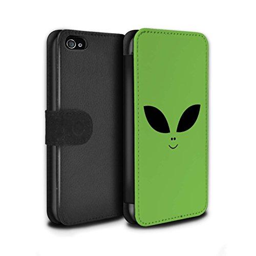 Stuff4® PU-Leder Hülle/Case/Tasche/Cover für Apple iPhone 4/4S / Grün Muster/Außerirdisches Gesicht Kollektion - 4s Telefon-abdeckungen Iphone