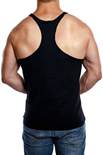 Stringer Tank Top Herren Gym Muskelshirt aus 100% Baumwolle in schwarz & weiss   Fitness & Bodybuilding Muscle Shirt - 2
