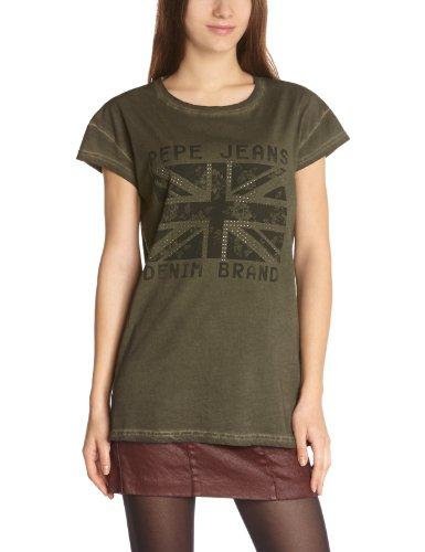 pepe-jeans-camiseta-de-manga-corta-con-cuello-redondo-para-mujer-color-green-vert-army-talla-36