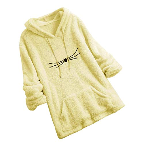 Frauen Langarm Hoiodies Damen Kapuzenpullover Mode Weibliche Fleece Sweatshirt Warme Cute Katze Form Fuzzy Hoodie Günstige Tee Top Moonuy