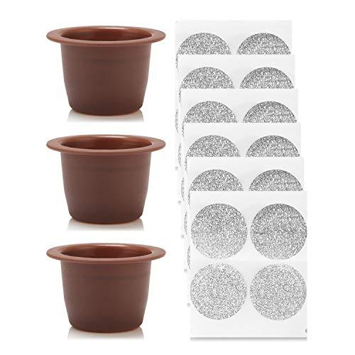 Kaffeekapsel,kaffeekapseln,3 STÜCKE Durable Kunststoff Kaffee Kapseln + 100 stücke Einweg...