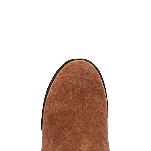 AgeeMi Shoes Femme Rond à Talon Correct Talon Gros Haut Demi Couleur Unie Bottes Brun