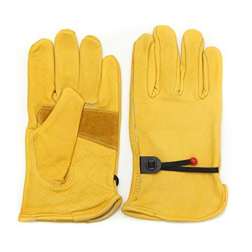 (Wooya Vintage Leder Yellow Motorrad Motorrad Sport Renn Handschuhe S M L XL-XL)