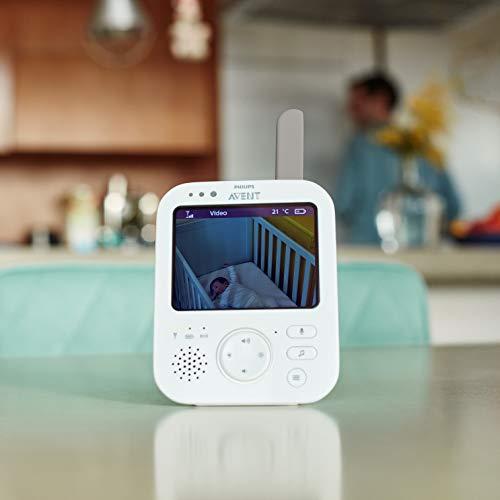 """Philips Avent SCD843/01 Babyphone vidéo A-FHSS - écran LCD 3.5"""", Berceuses, Veilleuse, Alerte pleurs, Infrarouge"""