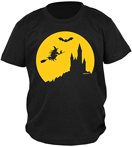 Jungs Lustige Kostüme (Kinder Halloween T-Shirt - Kindershirt Halloweenparty : Halloween Hexe -- Kinder Tshirt Hexe Fledermaus Burg Gr:)