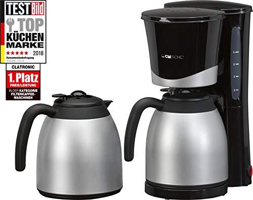 Clatronic KA 3328, Thermo-Kaffeemaschine für 8-10 Tassen (1 Liter), inkl. Ersatzkanne, Nachtropfsicherung, Wasserstandanzeige, 870 Watt, schwarz