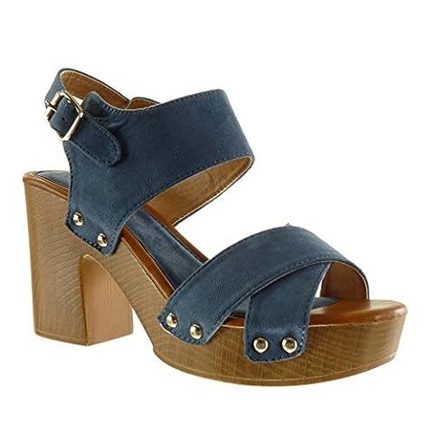 Angkorly - Chaussure Mode Sandale Mule plateforme ouverte femme lanière clouté bois Talon haut bloc 9.5 CM - Bleu - YL287-10 T 38