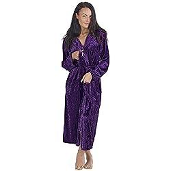 CityComfort Peignoir Femme Velour Robe de Chambre Polaire Lingerie Femmes (36/38, Violet foncé)