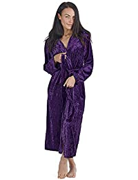 6c13ef6ac6 CityComfort Luxurious Hooded Dressing Gown for Women Crushed Velvet Long  Housecoat Sleepwear Gifts for Ladies Elegant