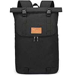 Myhozee Backpack Men's Women's, Water Repellent Laptop Backpack, Anti Theft Roll-Up Backpacks Daypacks, School Backpack Daypack Trekking Backpack for Leisure Job Outdoor Black