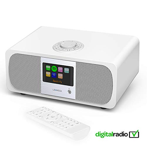 LEMEGA M3+ Smart Music System (2.1 Stereo) mit Wi-Fi, Internetradio, Spotify, Bluetooth, DLNA, DAB, DAB+, UKW-Radio, Uhr, Wecker, Voreinstellungen und drahtloser App-Steuerung - Satinweiß (Wi Fi Stereo System)