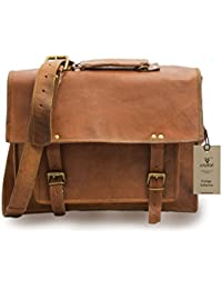 "Crafat 15"" Men's Vintage Genuine Leather Office Men's Laptop Messenger Bag (11x15)"