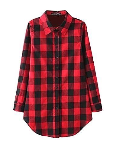 Damen Casual Revers Kragen Langarm Kariert Bluse Freizeit Hemd Plaid Rot L