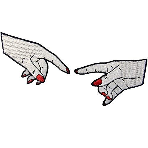 ZEGIN Aufnäher, Bestickt, Design: Hände berühren, Die Schaffung von Frauen, zum Aufbügeln oder Aufnähen