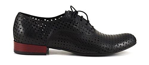 CAF NOIR EB231 chaussures noires femme lacets en cuir perforé brogues Nero
