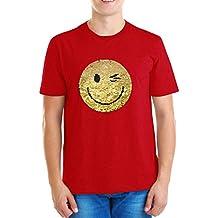 ZipZappa Emociones Lentejuelas Camiseta para Niño Camiseta de Manga Corta 4-14 Años del Smiley