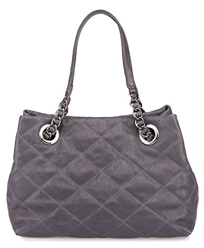 Abro Quilted Leather Double Handle Handbag Grey