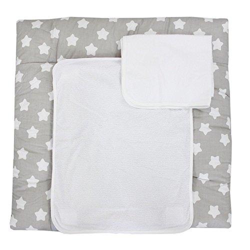 TupTam Wickelauflage inkl. 2 Frotteebezüge, Farbe: Grau Große Weiße Sterne, Größe: 70 x 70 cm