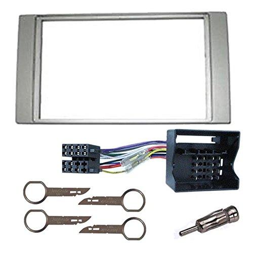 Kit montage autoradio silver FORD GALAXY / FIESTA / FOCUS / C-MAX / S-MAX / TRANSIT cadre de radio façade 2 din adaptateur ISO