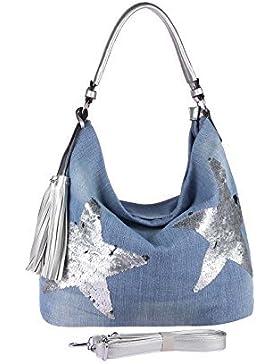 OBC ital-design XXL Damen Stern Tasche Handtasche Canvas Baumwolle Strasssteine Gold-Silber Bowling Beuteltasche...