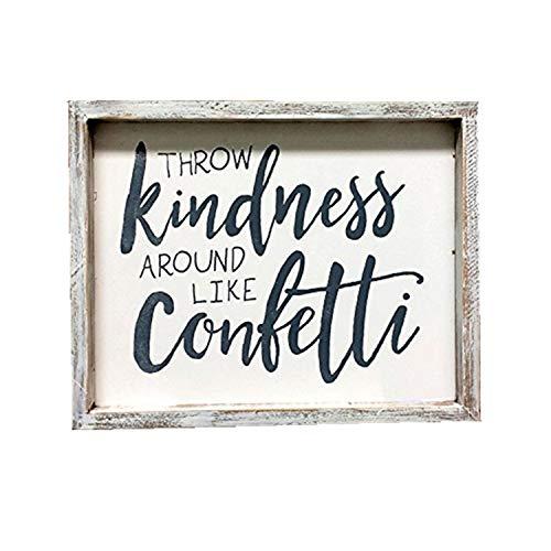 Kindness Wie Konfetti Holz, Um Wall Gerahmtes Schild Weiß gewaschenes Holz Decor 25,4x 2,5x 20,3cm ()