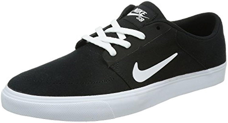 Nike Men's SB Portmore Cnvs Skate Shoe, Negro/Blanco, 41 D(M) EU/7 D(M) UK