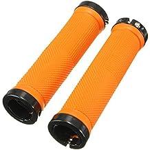 Agarre de manillar de bicicleta - TOOGOO(R) 1 par tornillo de maneja de bici apretones de manillar de bicicleta MTB BMX de color naranja
