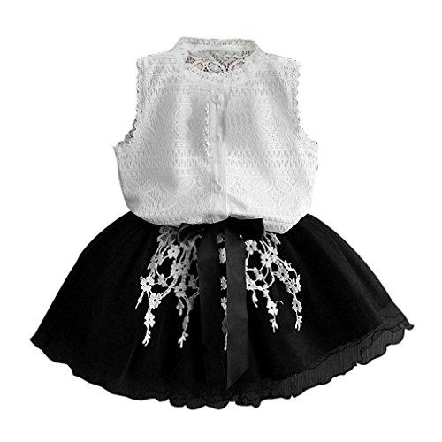 Vovotrade Sommer Kleinkind Baby Mädchen Kinder Tutu Häkeln Spitze Shirt Prinzessin Kleid Kleidung Set (Größe: 3 Jahre alt)