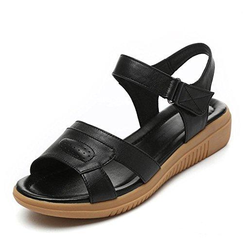 L@YC Femmes Sandales Poisson Bouche éTé Plat Haute Pente avec Le Cuir Skid antidéRapant anti Skid Grande Taille Robe Dames Chaussures Black