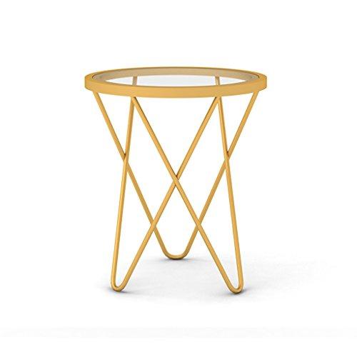 Preisvergleich Produktbild Tische Skandinavisches Wohnzimmer Sofa Ein Paar Ecken einfach Moderne Kreative Glas Schmiedeeisen Couchtisch Couchtisch Schlafzimmer Studie Kleinen Runden Tisch Kleinen Beistelltisch (Farbe : A)