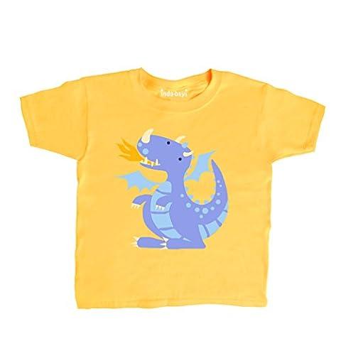 Inda-Bayi Baby-Toddler-Kids Cotton T Shirt - purple dragon multicolour on sunflower yellow 1-2 Years