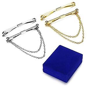 sailimue Schmuck 4PCS Herren Krawatte Clips Kragenstange Pin Set für Männer Krawatte Clips Hochzeit Geschäft mit Geschenk-Box