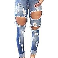Sannysis pantalones mujer rotos, pantalones mujer verano largos baratos (2XL)