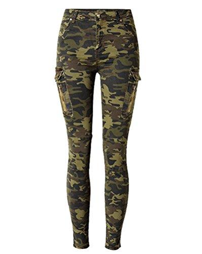 SaiDeng Donne Slim Fit Stirata Del Camuffamento Dei Militari Skinny Jeans Camouflage 36