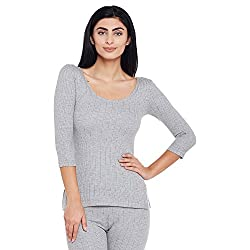 Neva Women Solid Thermal Tops Milange Grey Coloured X-Large