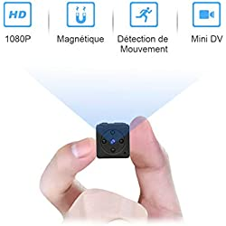 Mini Camera Espion Enregistreur,MHDYTFull HD 1080P Magnetic SpyCam sans FilNanny Caméra Cachée avec Détection de Mouvementet Vision Nocturne, Interieur /Exterieur MicroCamera Surveillance