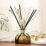 TianranRT★ LONGFINE/Lanfen yurt glass no fire aromaterapia olio essenziale per la casa,Diffusori di olio di canna con bastoncini naturali, bottiglia di vetro e olio profumato 35ML,Multicolore