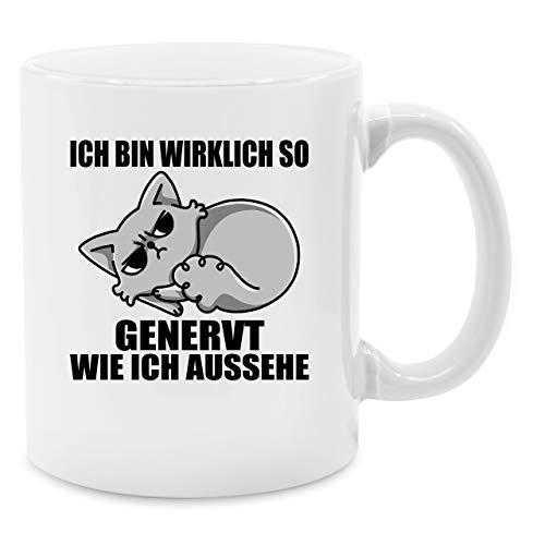 Tasse mit Spruch - Ich bin wirklich so genervt wie ich aussehe - Unisize - Weiß - Q9061 -...