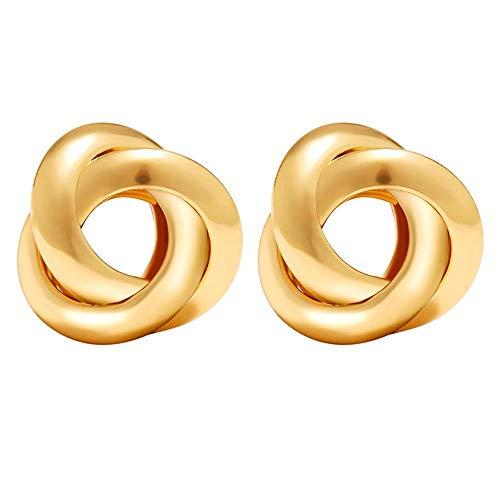 XCWXM Stud Earring Golden Silver Love Knot Earrings Women Classic Twist Stud Earrings Wedding Jewelry, E (Stud Ohrringe Knot Love)