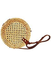 THE HANDPICKED SHOP Women's Handmade Round Cane Handbag with Shoulder Leather Straps (Natural)