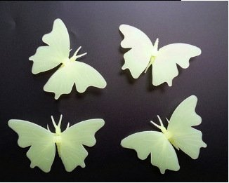Price comparison product image Glow in The Dark 3D Butterfly Star Wall Stickers Fluorescent Luminous Sticker for Kid's Baby Nursery Home Decoration (Beige),  4pcs