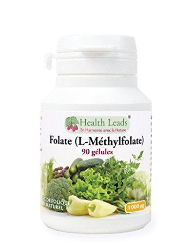 Folate (L-Méthylfolate) 1000 mcg x 90 gélules (Pas de stéarate de magnésium)