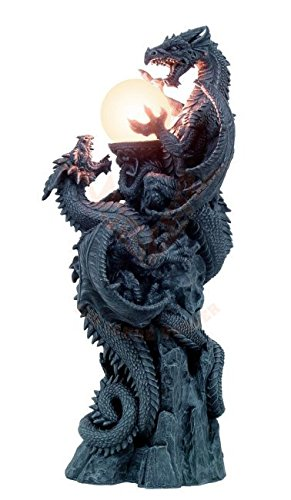 Große Drachenlampe 66 cm - Stehlampe Drache Gothic Fantasy