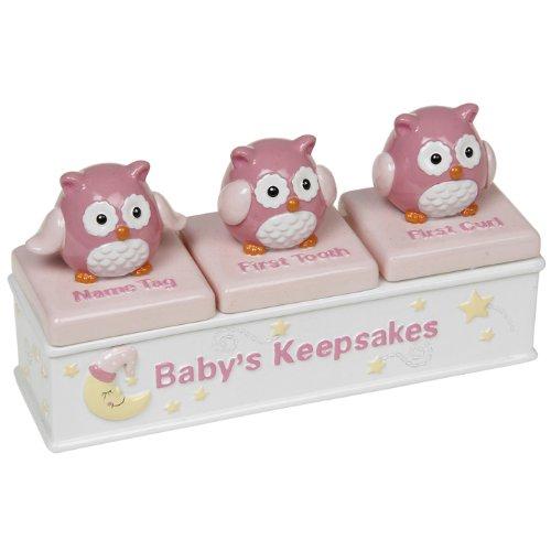 Baby Girl Triple Owl Keepsake Box